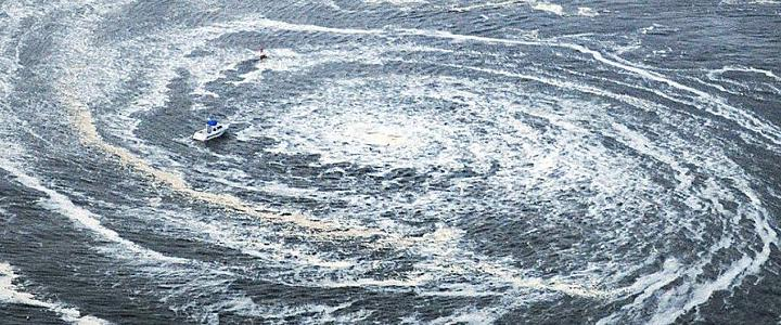 Whirlpool in tsunami in Japan 2011